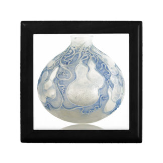 Frosted blue Art Deco vase with fruit. Gift Box