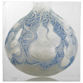 Frosted blue Art Deco vase with fruit. Napkin