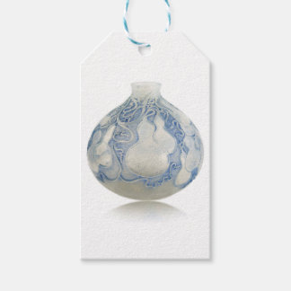 Frosted blue Art Deco vase with fruit. Pack Of Gift Tags