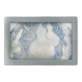 Frosted blue Art Deco vase with fruit. Rectangular Belt Buckles