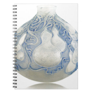 Frosted blue Art Deco vase with fruit. Spiral Notebook