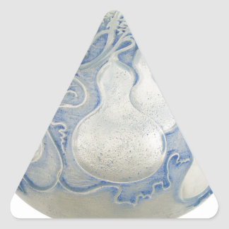 Frosted blue Art Deco vase with fruit. Triangle Sticker