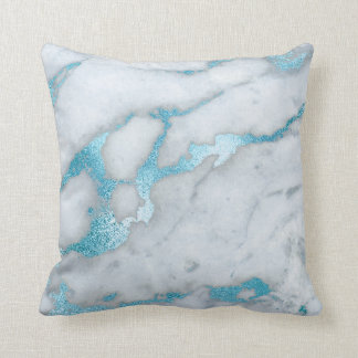 Frosted Blue Marble Pillow