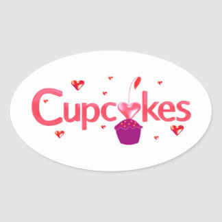 Frosted Cupcake Sign Oval Sticker