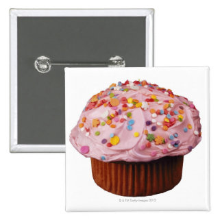 Frosted cupcake with sprinkles pinback button