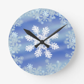Frosted Edges VII Round Clock
