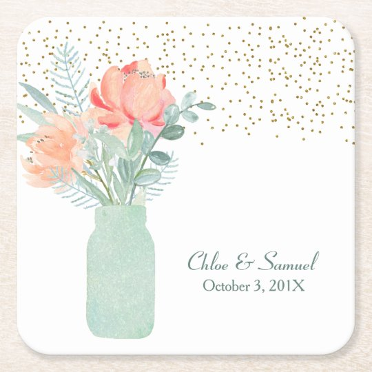 Frosted Glass Mason Jar Wedding Square Paper Coaster