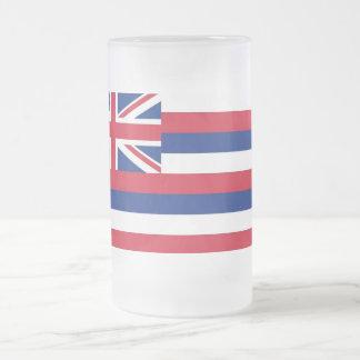 Frosted Glass Mug with flag of Hawaii, USA