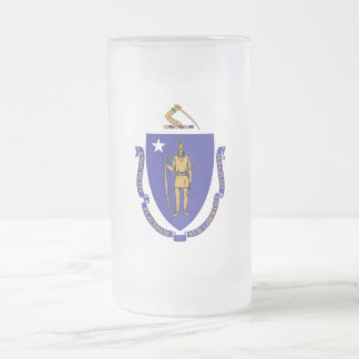 Frosted Glass Mug with flag of Massachusetts