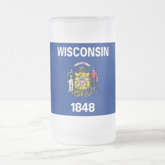 Frosted Glass Mug with flag of Wisconsin State