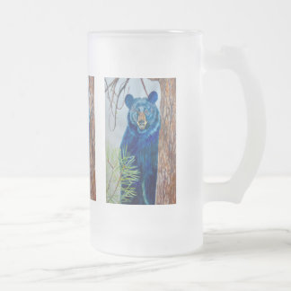 Frosted Glass Mug with pictures of Bear