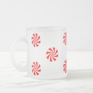 Frosted Glass Peppermint Holiday Mug
