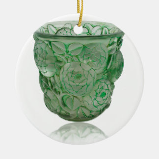 Frosted Green Art Deco glass vase with Roses. Ceramic Ornament
