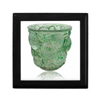 Frosted Green Art Deco glass vase with Roses. Gift Box