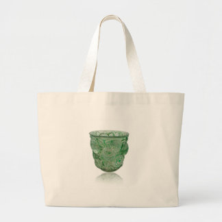 Frosted Green Art Deco glass vase with Roses. Large Tote Bag