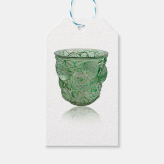 Frosted Green Art Deco glass vase with Roses. Pack Of Gift Tags
