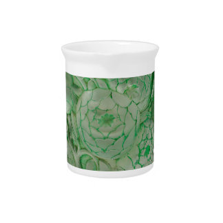 Frosted Green Art Deco glass vase with Roses. Pitcher