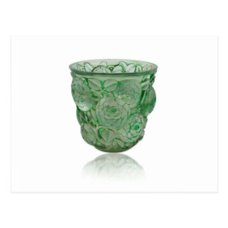 Frosted Green Art Deco glass vase with Roses. Postcard