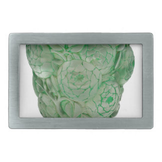 Frosted Green Art Deco glass vase with Roses. Rectangular Belt Buckle