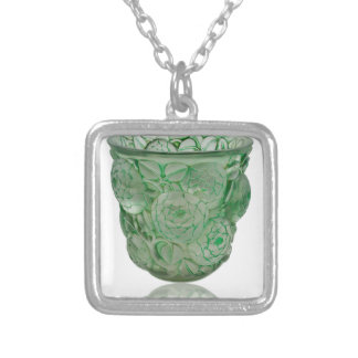 Frosted Green Art Deco glass vase with Roses. Silver Plated Necklace