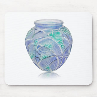Frosted green Art Deco vase with grasshoppers. Mouse Pad