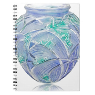 Frosted green Art Deco vase with grasshoppers. Spiral Notebook