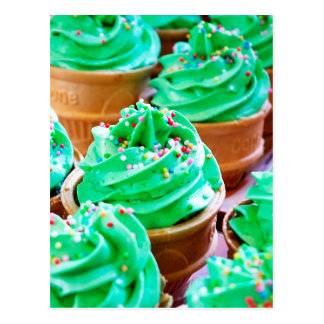 Frosted Green Cupcakes - Sweet Bakery Print Postcard