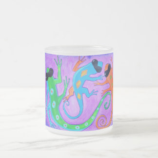 Frosted Mug - tropical lizards in sunglasses
