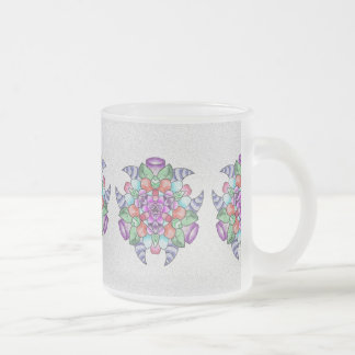 Frosted mug with design.