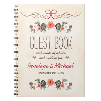 Frosted Pine Cone Christmas Wedding Guest Boook Notebook