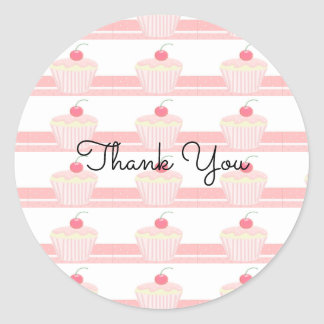 Frosted Pink Cupcakes Thank You Round Sticker
