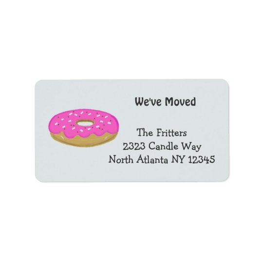Frosted Pink Doughnut New Address Label