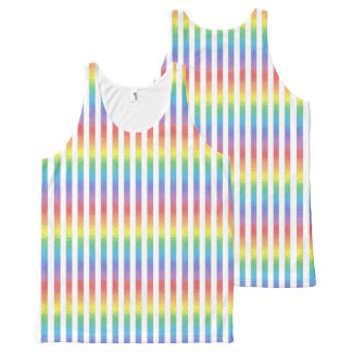 Frosted Rainbow With White Vertical Stripes All-Over-Print Tank Top