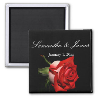 Frosted Red Rose Personal Wedding Magnet
