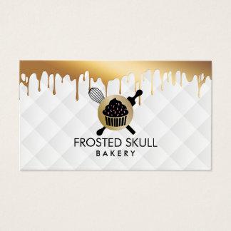 Frosted Skull Bakery Custom Crossbones Logo Business Card
