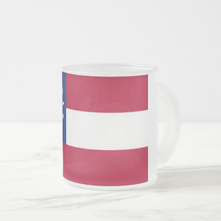 Frosted small glass mug with flag of Georgia