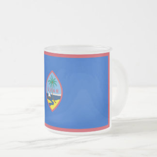 Frosted small glass mug with flag of Guam