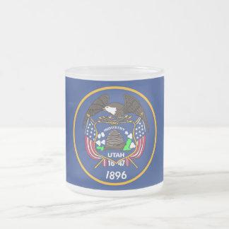 Frosted small glass mug with flag Utah, USA