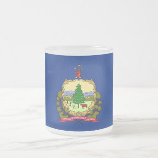 Frosted small glass mug with flag Vermont, USA