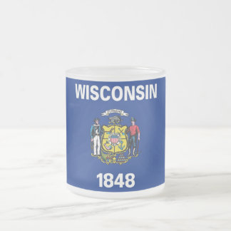 Frosted small glass mug with flag Wisconsin