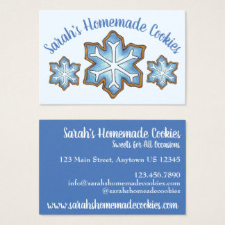 Frosted Sugar Cookies Blue Winter Snow Snowflake Business Card