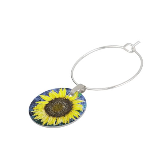 Frosted Sunflower Close Up Photograph Wine Charms