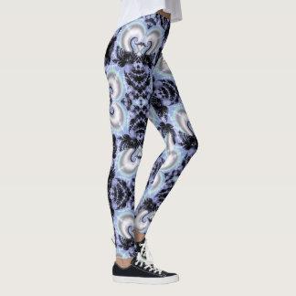 Frosted Swans Fractal Damask Pastel Goth Leggings