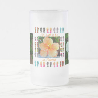 Frosted tall mug, Hawaiian Tapestry, Hibiscus Frosted Glass Beer Mug