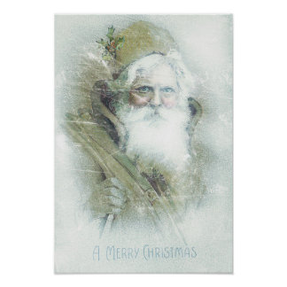 Frosted vintage Santa Claus Poster