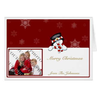 Frostie on Red with White Snowflakes Card
