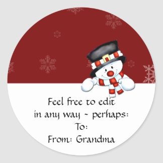 Frostie on Red with White Snowflakes Classic Round Sticker