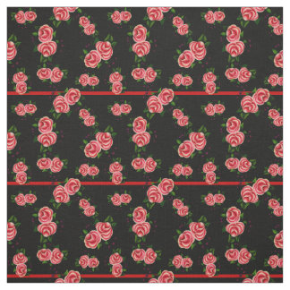 Frostrosen, folk rose flower, bud, black striped fabric