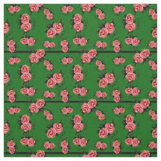 Frostrosen, folk rose flower, bud, green striped fabric