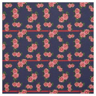 Frostrosen, folk rose flower, bud, navy striped fabric